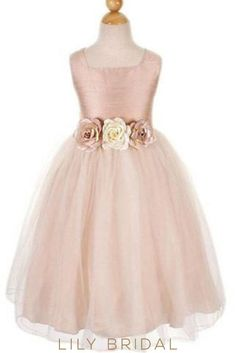 Sleeveless Flowery Waist Satin and Tulle Flower Girl Dress. Tank bodice adorned with beautiful flowers trim at wiast, princess floor length tulle skirt adds extra amount of chic charm for a stunning look. Blush Flower Girl Dresses, Tulle Flower Girl, Tulle Flowers, Pink Dress, Flower Girls, Blush Flowers, Dresses For Less, Trendy Dresses, Fashion Dresses