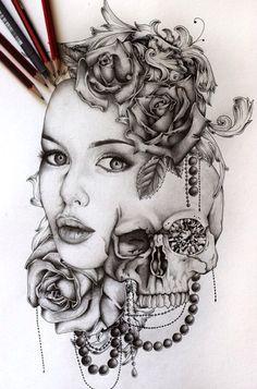 Indian Skull Tattoo Drawings Tatoo Skulls Street Art Urban