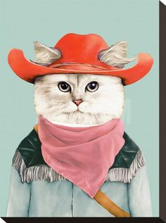 Rodeo Cat Stretched Canvas Print by Animal Crew at Art.com