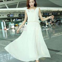 Women's Solid Color Sleeveless Chiffon Maxi Dress   LightInTheBox