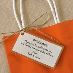 Wedding Welcome Gift Tags — Perfect to put on your hotel gift bags to welcome out-of-town guests to your wedding. Customize with you wedding colors, font choice and wording. Printed on card stock. Each card measures X RIBBON AND BAG NOT INCLUDED. Wedding Hotel Bags, Wedding Guest Bags, Our Wedding, Dream Wedding, Destination Wedding, Wedding Welcome Gifts, Wedding Gift Tags, Wedding Favors, Wedding Decorations