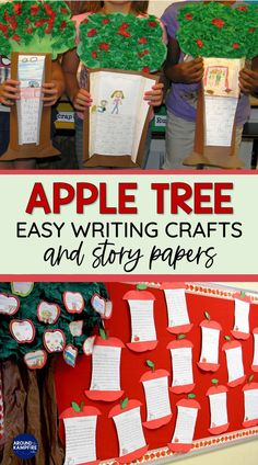 Publish your students' writing with these apple writing activities and three easy apple writing crafts. The pack include a variety of story and publishing papers, writing prompts and templates for how-to writing, acrostic poems, narratives and more that are ideal for first grade and 2nd grade. They also make an easy September bulletin board! September Bulletin Boards, Easy Writing, Apple Tree, Writing Activities, First Grade, Writing Prompts, Lesson Plans, Classroom, Student