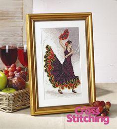 Cross stitch chart - Spanish flamenco dancer, The World of Cross Stitching issue 198