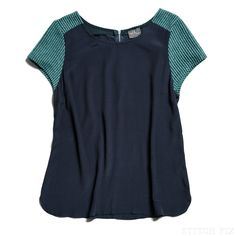 Mixed Materials: Celine Textured Colorblock Blouse