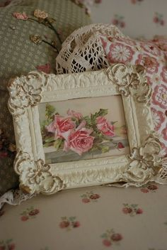 Pretty pink roses in a pretty frame- I have paintings and prints of roses throughout my cottage
