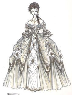 Beautiful Marie Antoinette/Rococo style gown sketch.