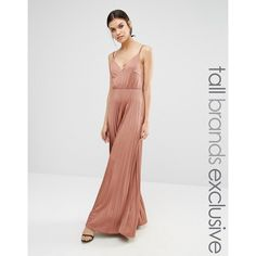 True Decadence Tall Plunge Front Maxi Dress With Pleated Skirt ($51) ❤ liked on Polyvore featuring dresses, pink, tall maxi dresses, woven dress, plunge neck maxi dress, braid dress and pink pleated dress