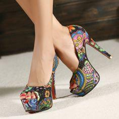 Free shipping sexy red bottom high heels platform pumps women sandals 2013 ladies shoes woman flowers print open toe-ZZKKO