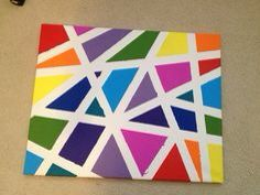 Easy wall art with just canvas, masking tape and paint! | Crafting ...