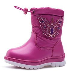 Children Boots 2017 New Arrivals Winter Shoes Waterproof Kids Snow Boots Butterfly Girls Boots For 1-4 Years Old