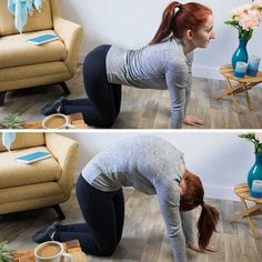 cat-cow-stretch Relieve Gas Pains, Relieve Gas And Bloating, How To Relieve Stress, Trapped Gas, Passing Gas, Gas Relief, Digestion Process, Knee Up