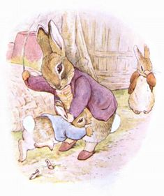 Illustration from the classic children& story The Tale Of Benjamin Bunny, by Beatrix Potter Famous Book Characters, Famous Books, Beatrix Potter Illustrations, Beatrice Potter, Peter Rabbit And Friends, Benjamin Bunny, Bunny Art, Children's Book Illustration, Illustrators