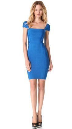 Herve Leger Short Sleeve Signature Cap Sleeve Bandage Blue Dress