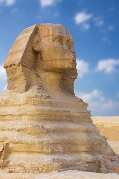 The Sphinx, Giza, Cairo, Egypt. There is recent speculation that the human head was carved centuries later than the lion's body, and that originally, the head was that of a lion. The human head is much too small, out of scale with the body.