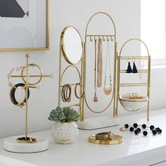 Marble and Gold Jewelry Holder Screen - Decor - Jewelry + Beauty Organizers - . - Marble and Gold Jewelry Holder Screen – Decor – Jewelry + Beauty Organizers – - Jewellery Storage, Jewelry Organization, Jewellery Display, Necklace Storage, Dresser Top Organization, Jewellery Shops, Jewellery Box, Diy Necklace Holder Stand, Makeup Vanity Organization