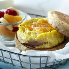 This quick and easy microwave scrambled egg and Canadian bacon muffin is an excellent source of protein.