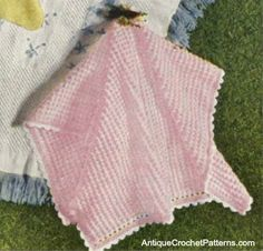 Crochet Baby Blanket Pattern:  Pink and White Blanket - Follow the easy step-by-step instructions of this vintage crochet pattern to make this classic crochet baby blanket. There is absolutely no charge for personal use of this crocheted baby blanket pattern.