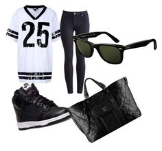 """""""Untitled #38"""" by aichaoulmekki ❤ liked on Polyvore featuring DKNY, Joules, NIKE, Chanel and Ray-Ban"""
