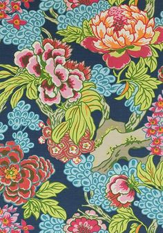 Thibaut Honshu Pillow Cover - Chinoiserie Pillow Cover - Peony Pillow - Navy Pink Pillow - Designer Pillow - High End Pillow - Colorful Blue And Green Curtains, Floral Curtains, Blue Curtains, Green Fabric, Navy Fabric, Wallpaper Uk, Chinoiserie Wallpaper, Chinoiserie Chic, Chinoiserie Fabric