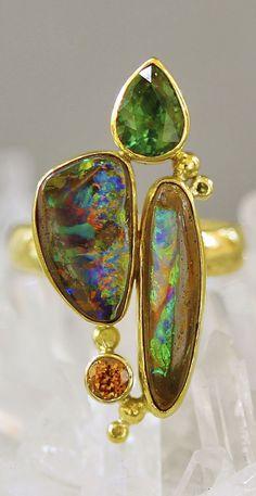 Jennifer Kalled, Boulder Opal Ring in 22k and 18k gold  with accents of zircon and tsavorite. Boulder opal from Bill Kasso www.kalledjewelrystudio.com