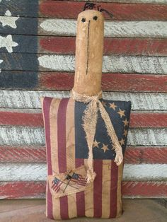 Primitive Folkart Flag Doll Pillow-SPPO Flag Doll on Etsy, $19.95