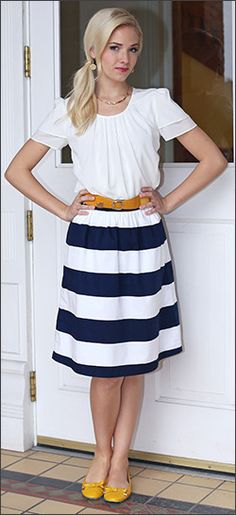 Navy Blue Striped Skirt with a pop of yellow. Cute!