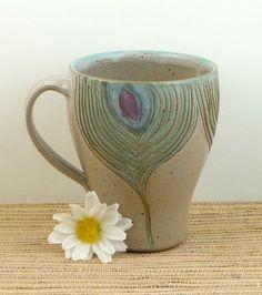 Handmade ceramic peacock mug