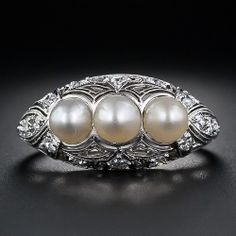 Edwardian Three Pearl Ring