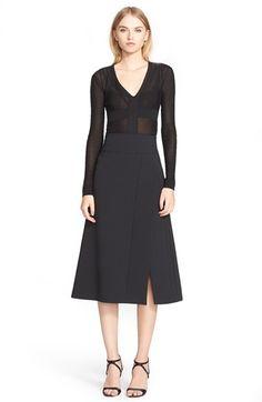 Narciso Rodriguez Slit Scuba Crepe A-Line Skirt