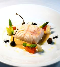 Recipe: Olive oil poached Babonne, leeks, asparagus and Prosecco sauce from Four Seasons Resort Mauritius.