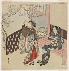 Title:軒先で梅の花を見る二人の女 Two Young Women Admiring Plum Blossoms Artist:鈴木春信 Suzuki Harunobu