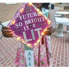 """""""Future So Bright, It's Lit"""" graduation cap design. Love the lights! Graduation Cap Designs, Graduation Cap Decoration, Graduation Diy, Nursing Graduation, High School Graduation, Graduation Pictures, Abi Motto, Grad Hat, Cap Decorations"""