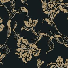 Shand Kydd Black & Nickel large floral wallpaper