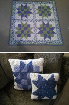 Baby Blocks Crochet Quilt, free pattern by C. L. Halvorson.  Two-round granny squares which  could easily be made larger.  A small project that's a good way to learn bi-color squares.  Pics from Ravelry Project Gallery   . . . .   ღTrish W ~ http://www.pinterest.com/trishw/  . . . .  #afghan #blanket #throw #pillow