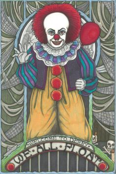 8x12 PRINT Pennywise clown Stephen King by MaiafirePrints on Etsy, £8.00