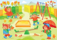 Ilustración vectorial de los niños pequeños jugando