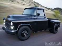 View this 1957 Chevy Pickup In The Black Wood Bed Photo 3. Check out a 1957 Chevy Pickup with a LB7 Duramax diesel that is in the black. See how this classic Chevy has a soul and plenty of power in this month's issue of Diesel Power Magazine!