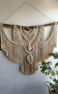 Hanging wall decor available in different sizes, Large Macrame Backdrop, Extra large Macrame Wall Hanging with tassels, Macrame Mural Macrame Wall Hanging Patterns, Large Macrame Wall Hanging, Macrame Art, Macrame Design, Macrame Projects, Macrame Knots, Macrame Patterns, Quilt Patterns, Art Macramé