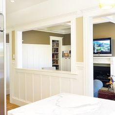 1000 images about pony wall on pinterest half walls columns and pony wall for Half wall between living room and dining room