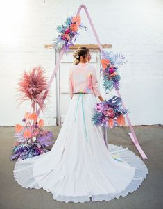 We're loving the feminine + whimsical wedding inspiration in today's editorial with pops of iridescent details and rainbow pastel colors! Wedding Shoot, Wedding Themes, Wedding Designs, Boho Wedding, Floral Wedding, Wedding Colors, Wedding Decorations, Decor Wedding, Party Wedding