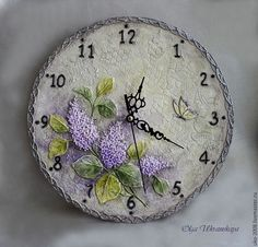 """Часы для дома ручной работы. Ярмарка Мастеров - ручная работа. Купить Часы """"Ветка сирени"""". Handmade. Сиреневый, цветы, мдф"""