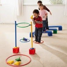 Gross Motor obstacle course with tossing game at the end Sports Day Activities, Motor Skills Activities, Movement Activities, Gross Motor Skills, Sensory Activities, Physical Activities, Toddler Activities, Preschool Activities, Sensory Rooms