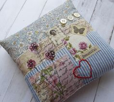 """Adorable eclectic lavender-filled small pillow—would be a nice pincushion • drawer sachet • a doll pillow • a decor accent for a little girl's room • add a loose ribbon to have a pretty ring bearer pillow • etc—lots of uses❣ 5.5"""" x 5.5"""" (gift boxed)"""