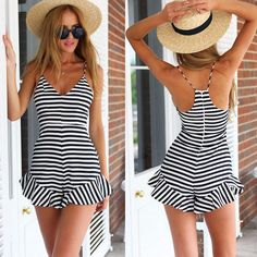 Women Elegant Jumpsuit 2015 Summer Style Sexy Rompers Bodysuit Ruffles Macacao Feminino Striped Overalls Playsuit