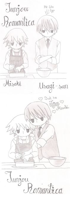 Junjou Romantica Misaki & Usagi-san.... He like eggs, but he love Misaki ^-^…