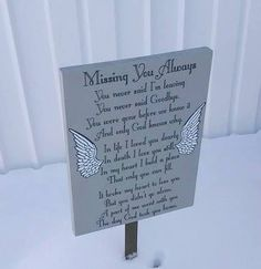 Angel Memorial Sign Missing You Always Memorial Outdoor Grave Flowers, Cemetery Flowers, Memorial Gifts, Memorial Day, Memorial Stones, Graveside Decorations, Cemetary Decorations, Remembering Dad, Outdoor Signs
