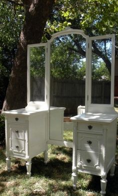 Vintage Vanity Desk Nightstands White Paint 1920's-1930's Signed Cottage Chic