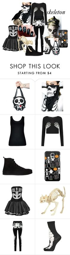 """""""halloween costume skeleton"""" by liloueclair ❤ liked on Polyvore featuring City Chic, Ann Demeulemeester, Casetify, Topshop, Halloween, skeleton, Costume, skelette and plus size clothing"""