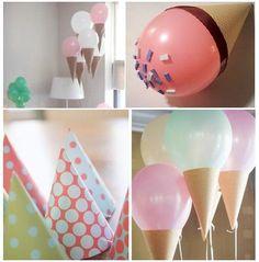 Idée déco cute: Les ballons en forme de cornet de glace!