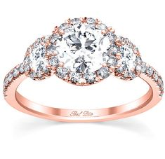 Rose Gold Three Stone Engagement Ring Halo by deBebians, via Flickr